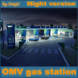 3d omv gas station night