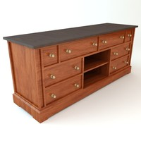 traditional style credenza cabinet 3d obj