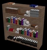 3d bookshelf polys low-poly