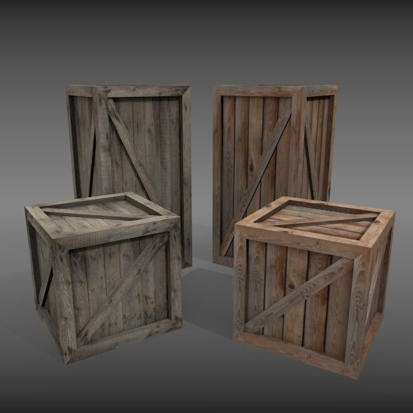 3ds wooden crates