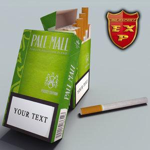 pall mall pocket cigarette pack 3d model