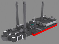 european barge - dredger 3d 3ds