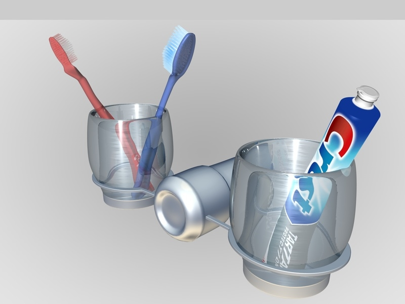 3d toothbrush set model
