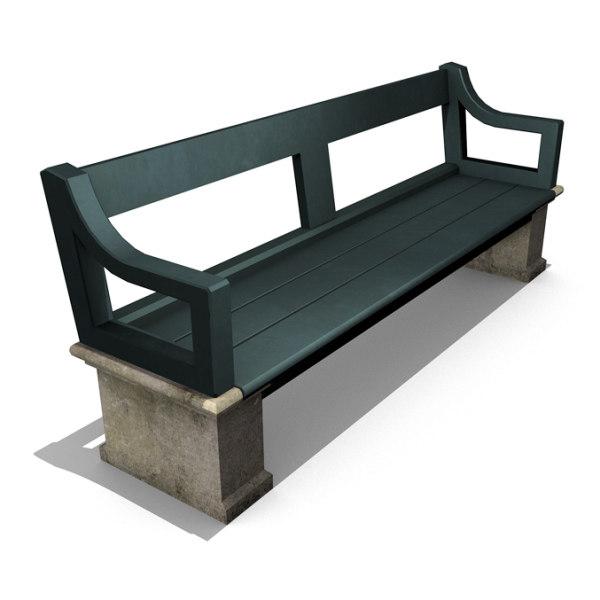 old park bench 3d 3ds