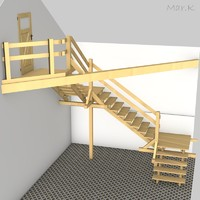 outdoor stairs 3d c4d