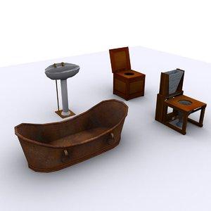 3ds max antique bathroom pack bath sink