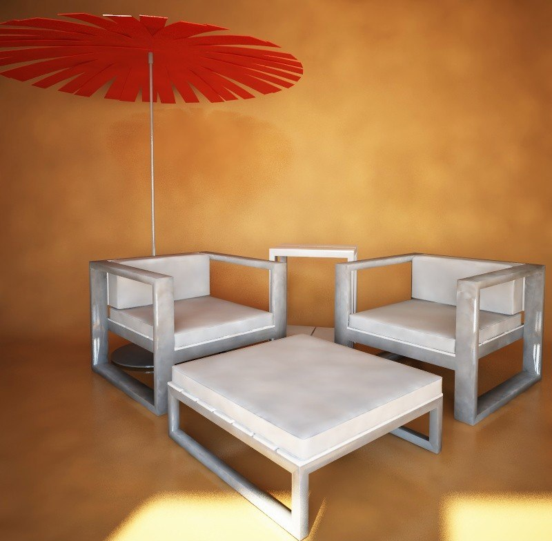 outdoor armchairs table gandia 3d model