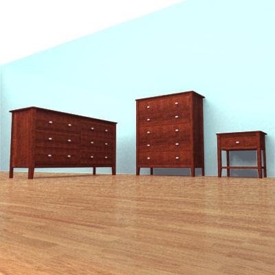 bedroom chest nightstand 3d model