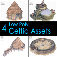 Celtic Assets Collection, Low Poly, Textured