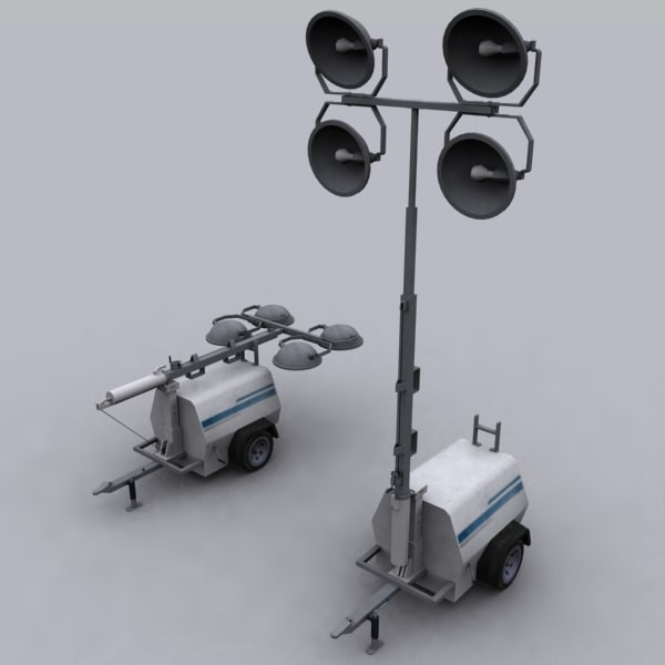 Mobile Construction Light Tower 3d Max