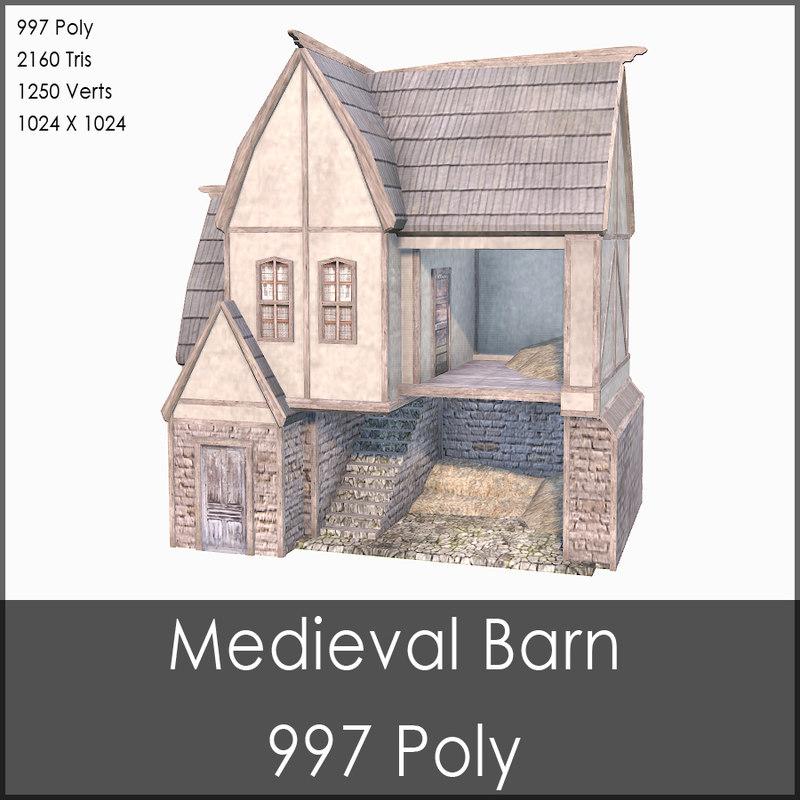 medieval barn 3d max