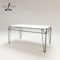 3d wireframe table model