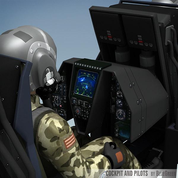 fighter cockpit pilots 3d model