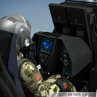 fighter cockpit pilots 3d model