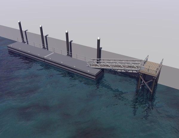 marine floating dock 3d 3ds