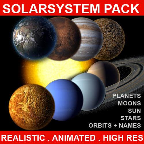 planets solar solarsystem 3d max
