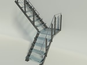 3d model modern stairs