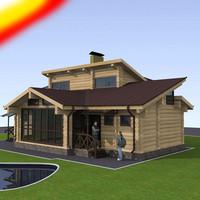 3d sauna log building