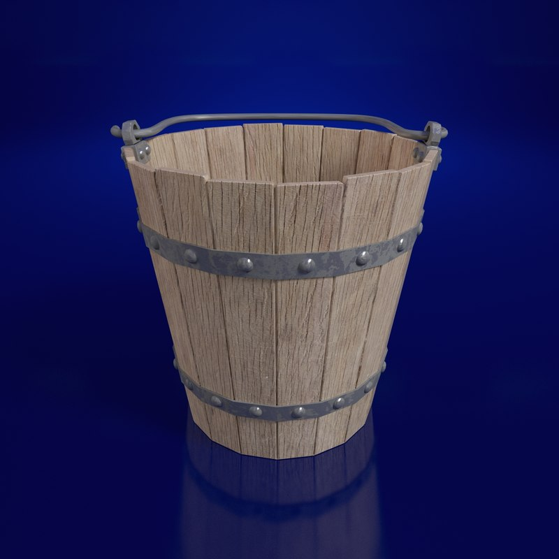 3d model bucket wooden