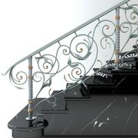 classical handrail 3d max