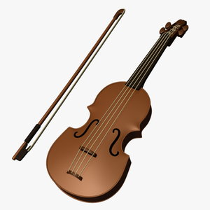 cartoon violin obj