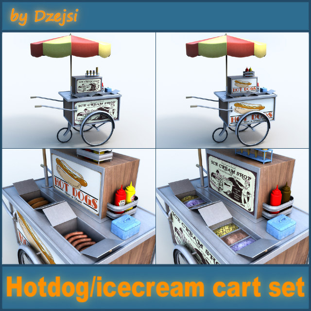 3d model hot dog cart ice cream