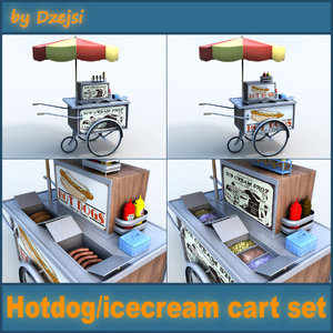 3d model hot dog cart ice cream