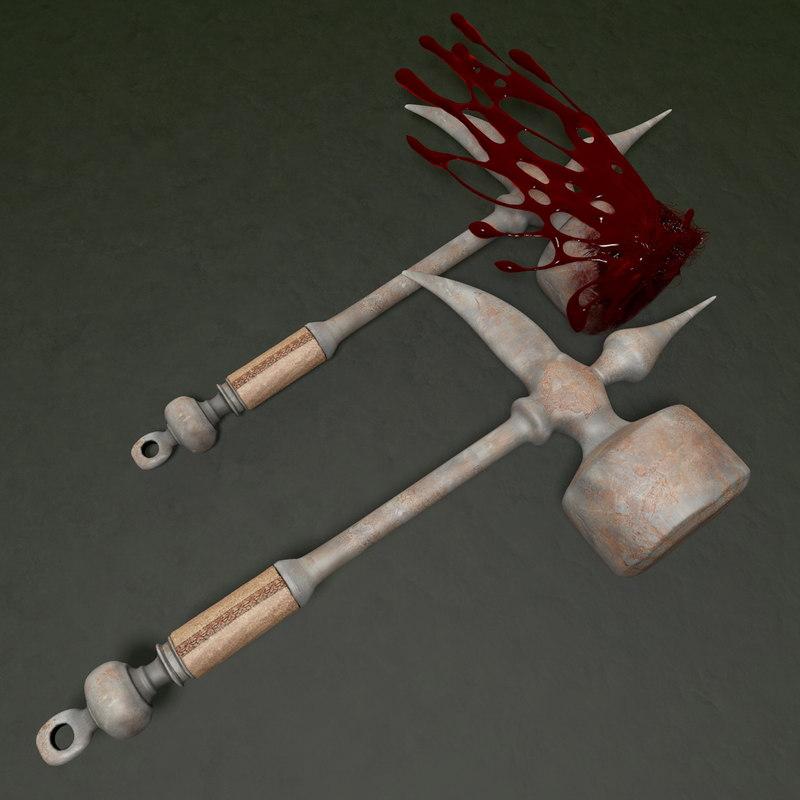 3d model hammer blood