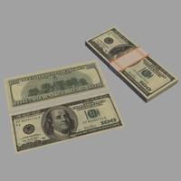 3d model $100 bill