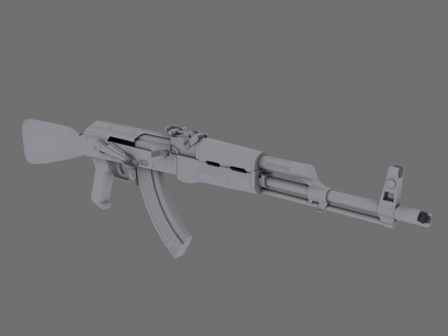 3d akm assault rifle