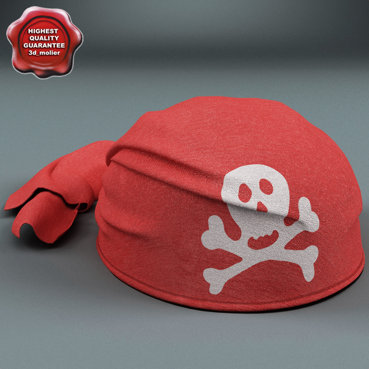 3ds max pirate scarf hat red