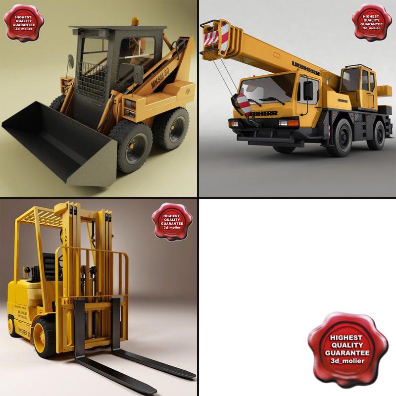 3d model of set loader forklift