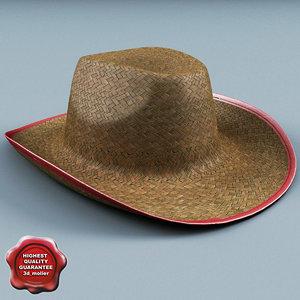 3d straw cowboy hat model