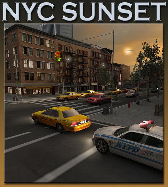 new york sunset scene city 3d max