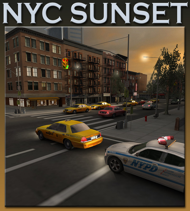 new york sunset scene city 3d max