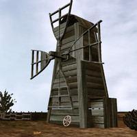 windmill wood 3d model