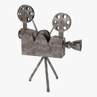 3d model antique movie camera