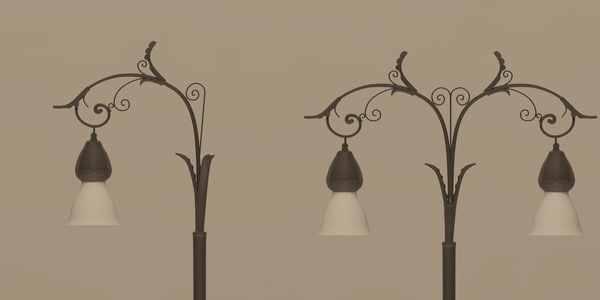 3d old decorated lighting pole model