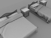 3d model double bed