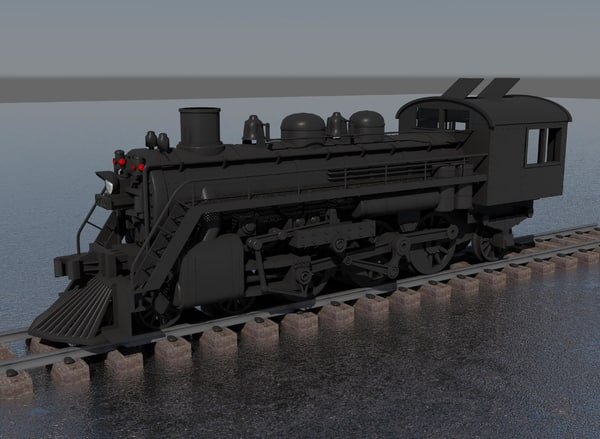 steam locomotive 3d obj