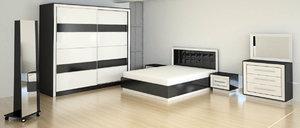 room bedroom bed 3d obj