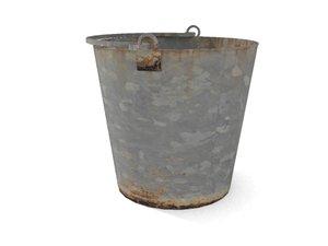 old galvanized bucket 3d x