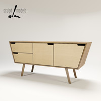 angled credenza 3d max