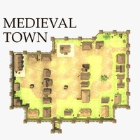 3d medieval town model