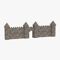 medieval rampart wall 3ds