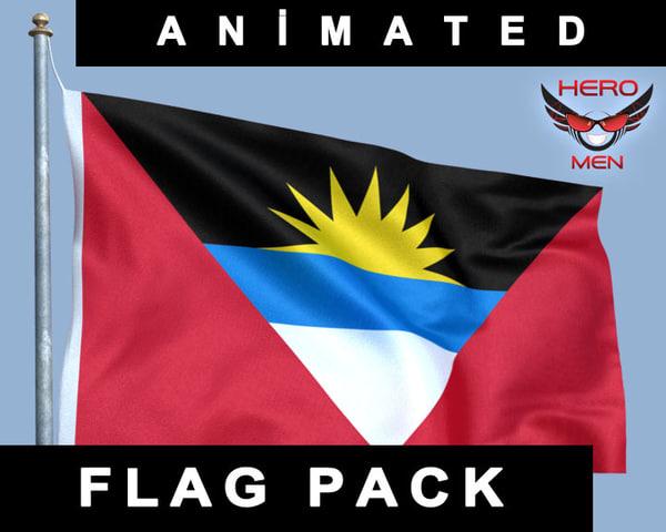 render flag antiqua barbuda 3d model