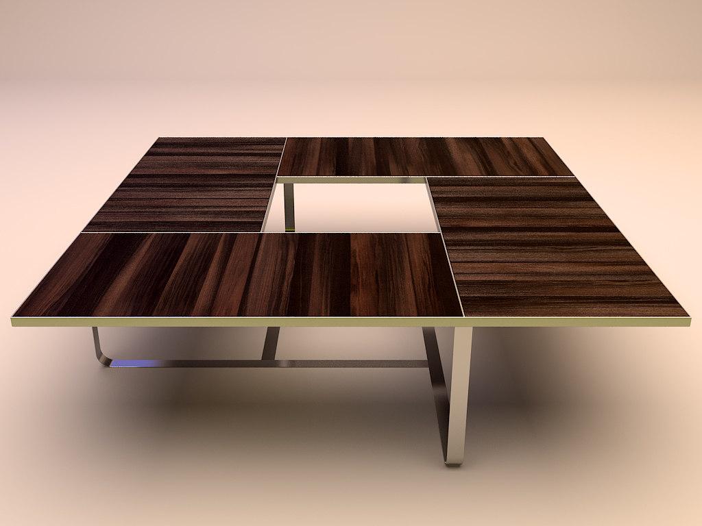 3d steel wood table