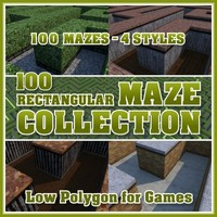 100 Low Polygon Rectangular Maze Collection