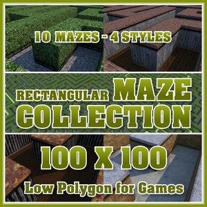 100x100 rectangular maze 3d 3ds