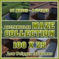 100x25 Low Polygon Rectangular Maze Collection